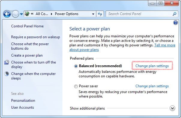 Verify that Free Countdown Timer is allowed to wake the computer